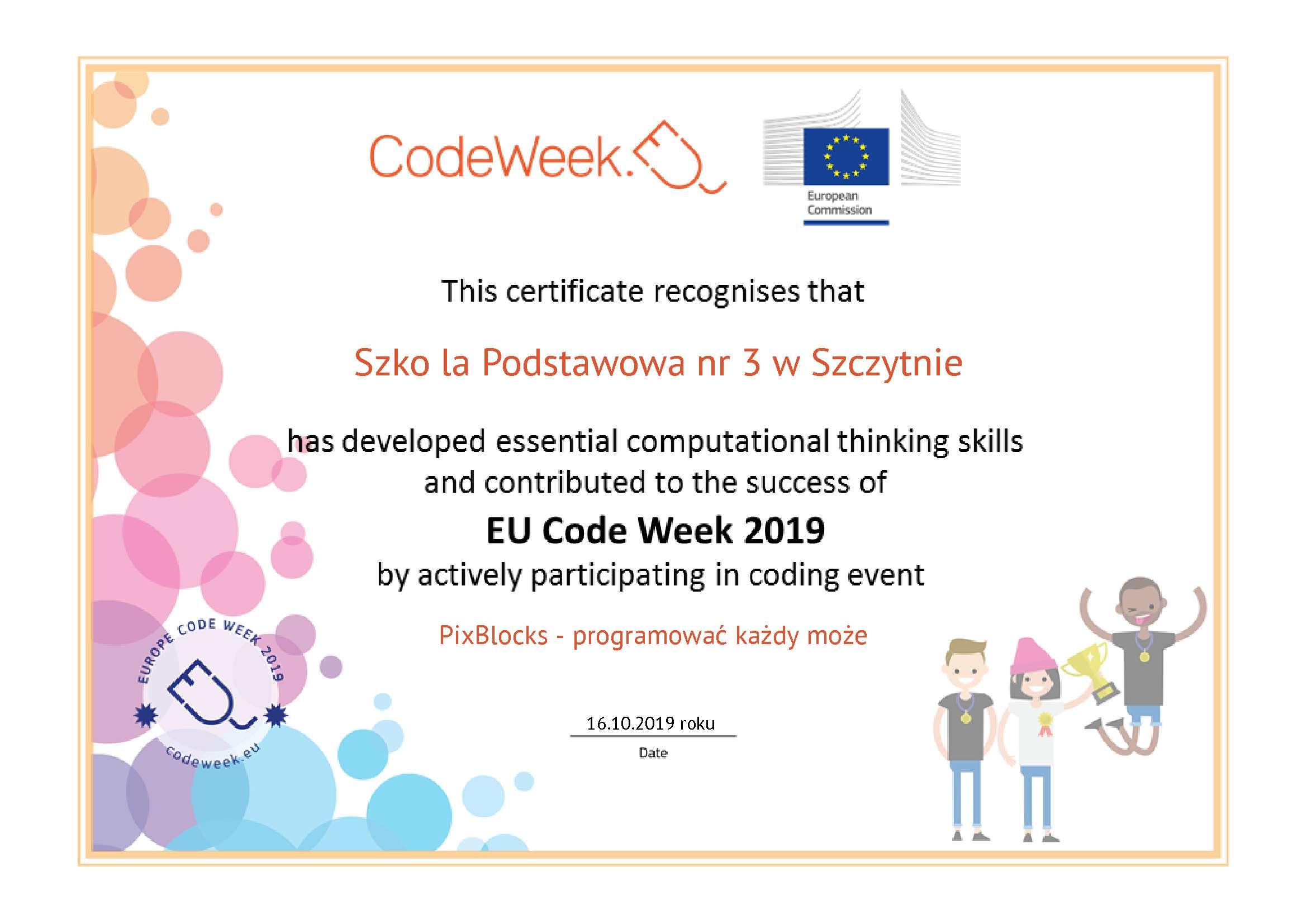 Certyfikat Codeweek