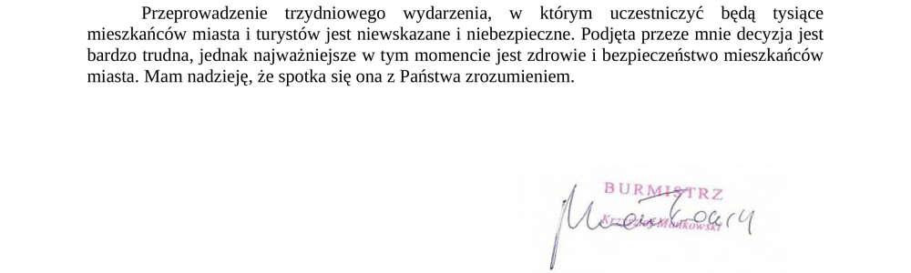 Oświadczenie Burmistrza Miasta Szczytno