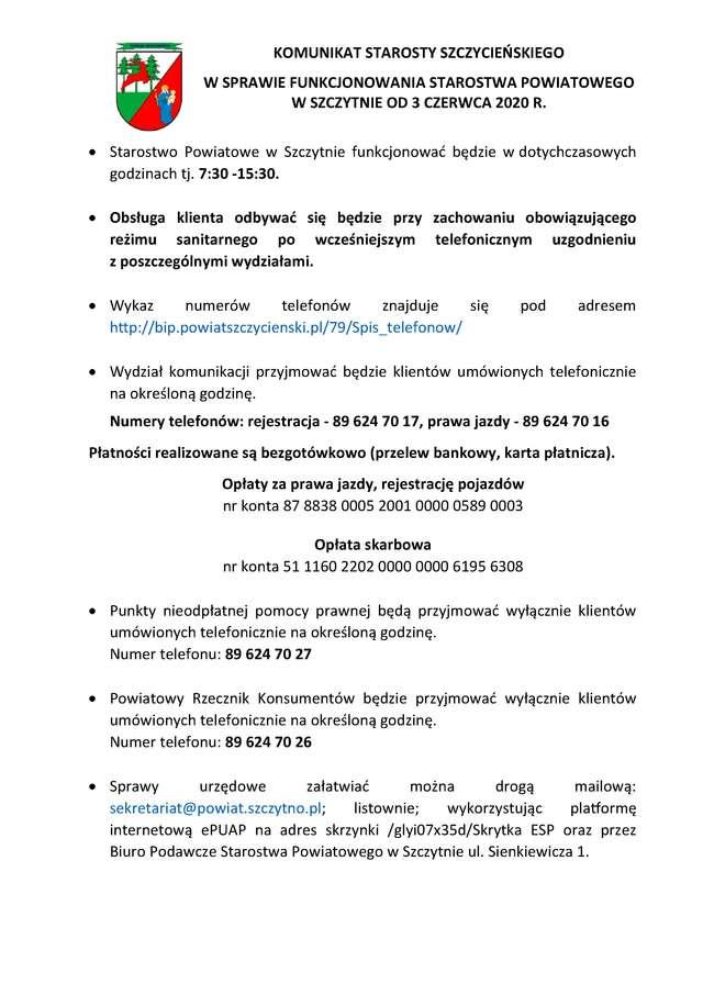 Komunikat Starosty Szczycieńskiego