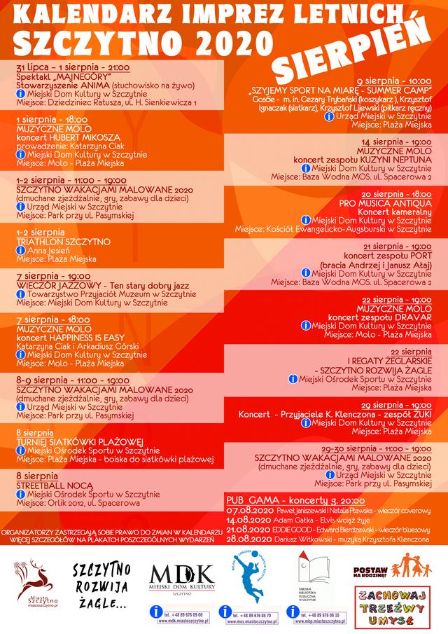 Kalendarz imprez letnich 2020 - sierpień