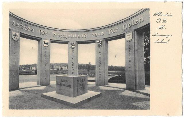 Olsztyn, Jakubowo - zdjęcia pomnika plebiscytowego (ze zbiorów Witolda Olbrysia)