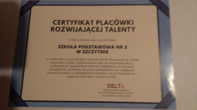Certyfikat Placówki Rozwijającej Talenty