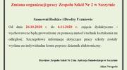 Zmiana organizacji pracy Zespołu Szkół Nr 2 w Szczytnie od dnia 26.10.2020 r.