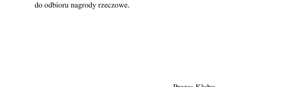 KOMUNIKAT KLUBU SPORTOWO-REKREACYJNEGO TKKF w Szczytnie