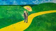 """""""Człowiek ze złotym parasolem""""- interpretacja wiersza w pracach plastycznych."""