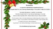 Komunikat w sprawie zmienionej organizacji pracy Zespołu Szkół Nr 2 im. Jędrzeja Śniadeckiego w Szczytnie w dniu 24.12.2020 r.