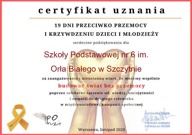 Mamy certyfikat uczestnictwa w kampanii