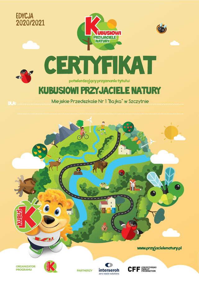 Kubusiowi Przyjaciele Natury- certyfikat