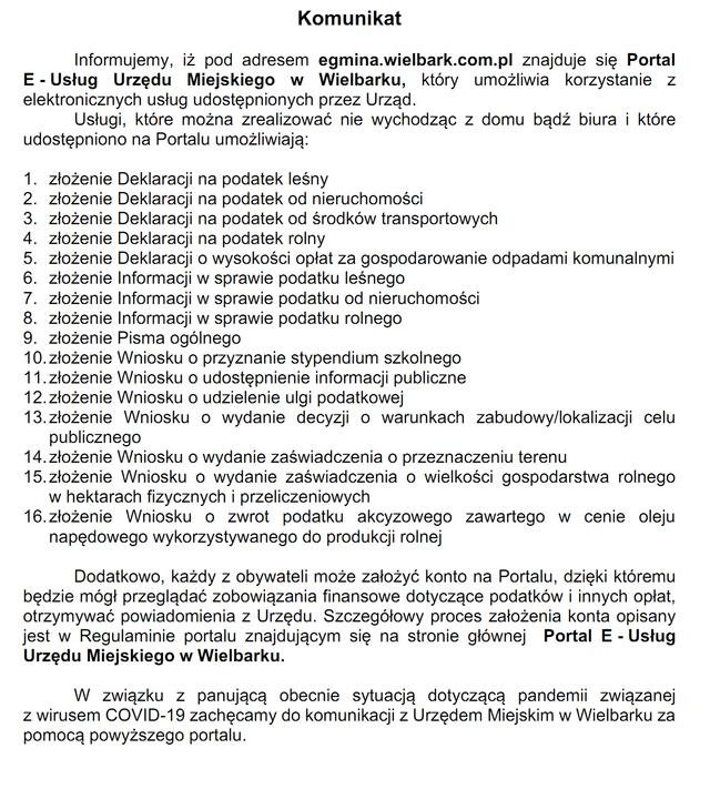 Komunikat dotyczący Portalu e-Usług Urzędu Miejskiego w Wielbarku - informacja