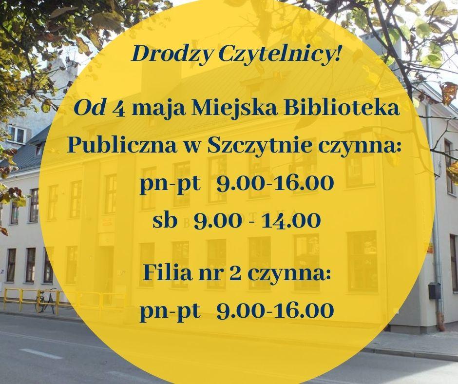 Miejska Biblioteka Publiczna w Szczytnie wznawia działalność