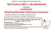 Miejska Biblioteka Publiczna w Szczytnie oraz Filia Nr 2 - ZAMKNIĘTE