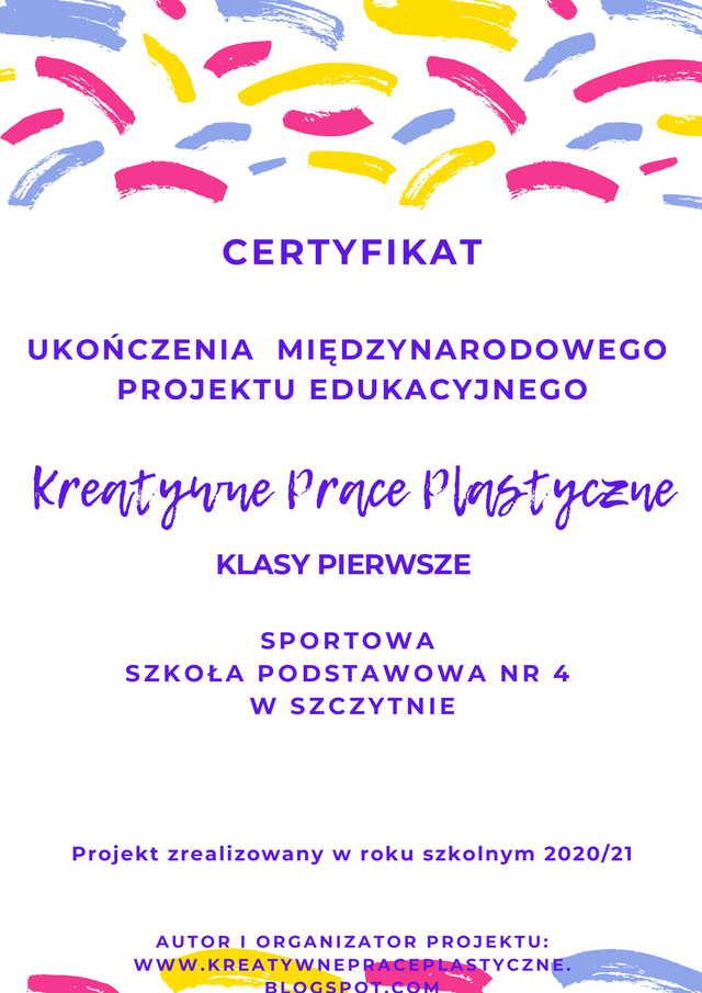Certyfikat Międzynarodowego Projektu Edukacyjnego