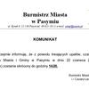 Komunikat Burmistrza Miasta Pasym