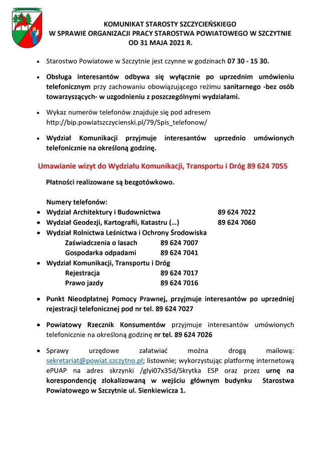 Informacja o organizacji pracy Starostwa Powiatowego w Szczytnie