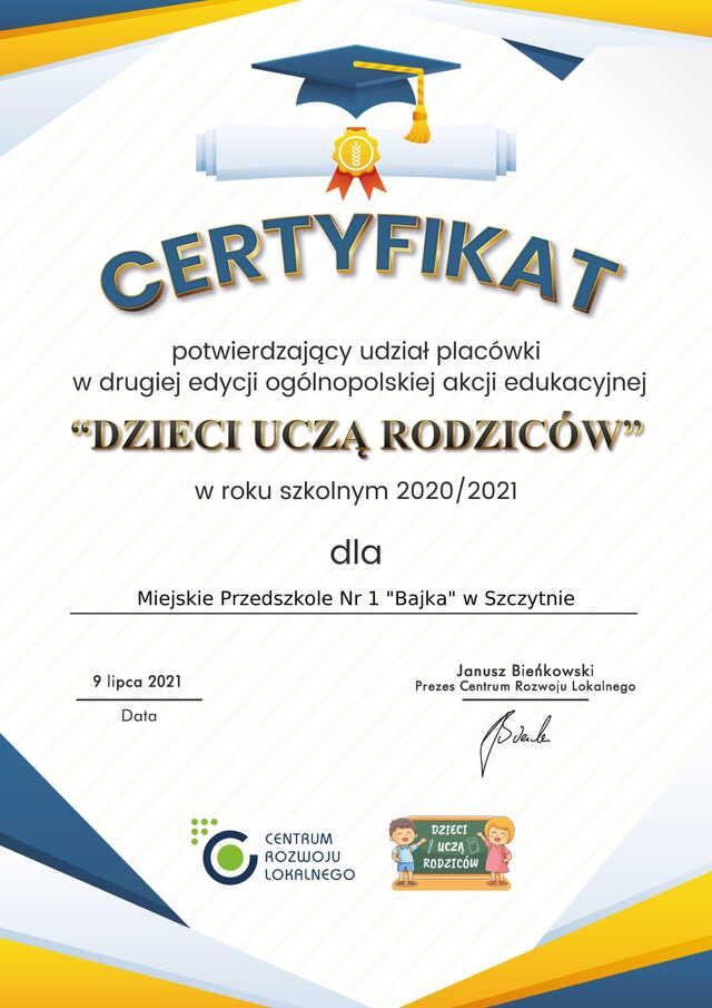 Dzieci Uczą Rodziców 2020-2021 Certyfikat