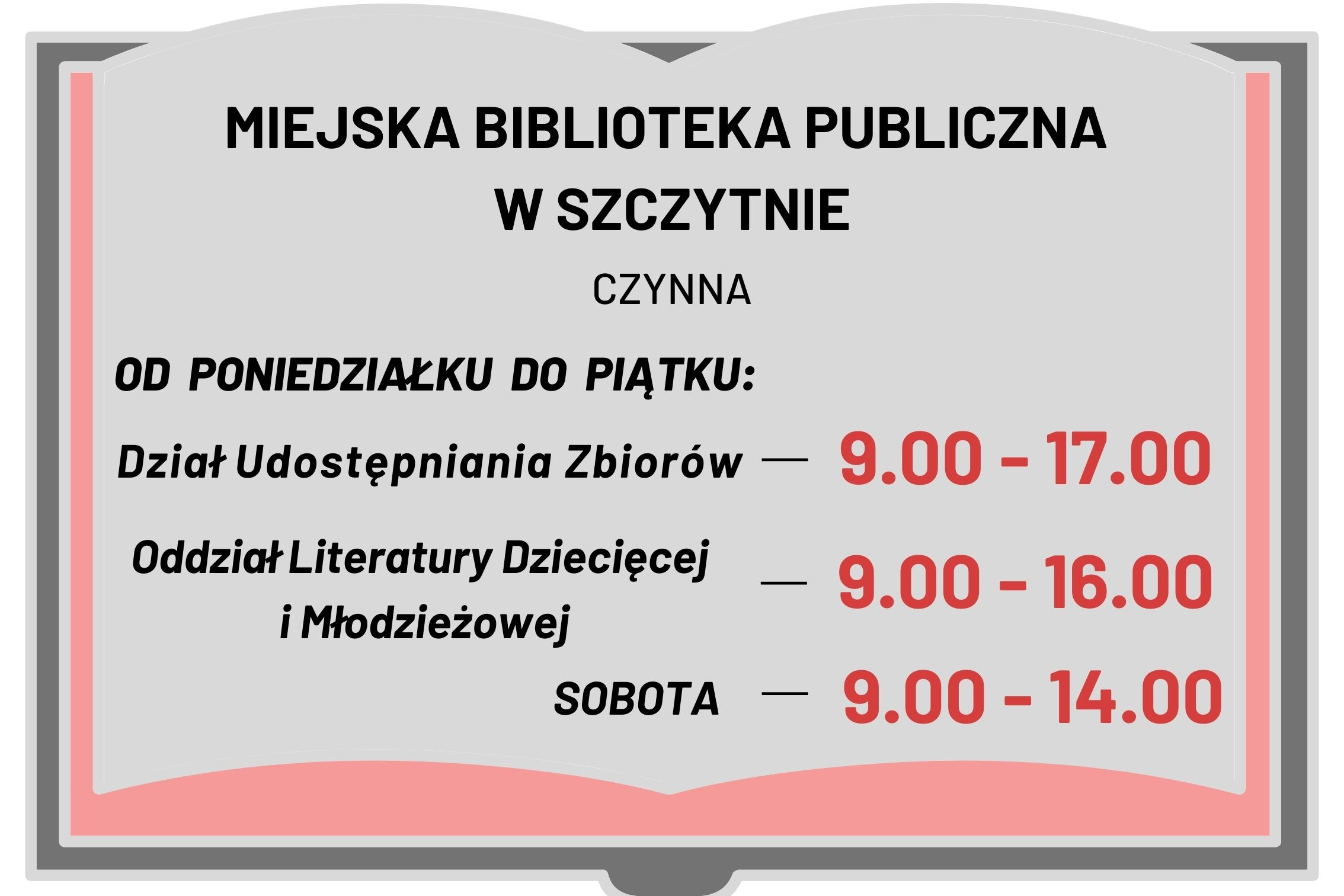 Godziny otwarcia Miejskiej Biblioteki Publicznej w Szczytnie